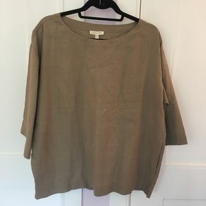 Eileen Fisher 100% Irish Linen Bateau neck top